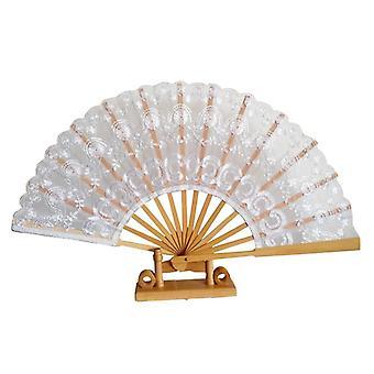 Klassische handgemachte Bambus Rippen Embriodery Hand Spitze Fan