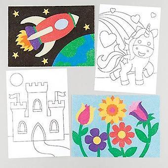 Umelecké obrázky z piesku a trblietok (balenie po 8 ks) 8 balení