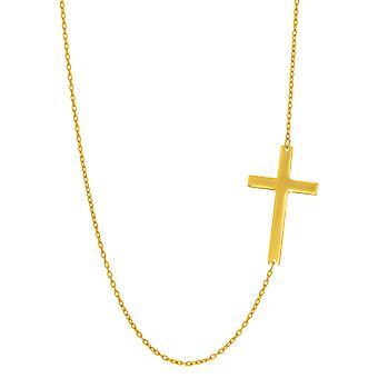 """14 k Gold seitlich Kreuz Anhänger Halskette, 18"""""""