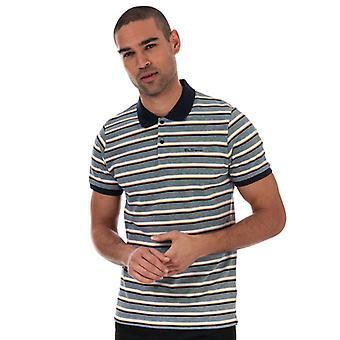 Heren's Ben Sherman Gestreept Polo Shirt in Blauw