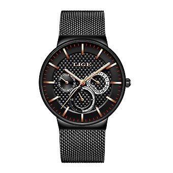 Lige Luxury Watch Men - Anologue Quartz Movement for Men Black-Gold