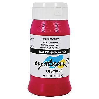 Daler Rowney System 3 Acrylic Paint Process Magenta 2.25L