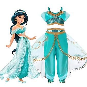 Little Girls Aladdin's Jasmine Princess Cosplay Dance Dress Up Halloween Fancy Costumes Anime Lamp Adventure Outfit