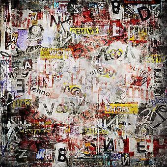 Tapete impresso multicolorido de rabisco de parede em poliéster, algodão, L100xP150 cm