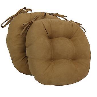 Coussins de chaise touffu rond en daim massif de 16 pouces (ensemble de 2) - Chameau