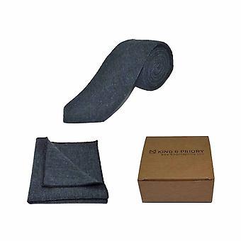Ylämaan kudonta syvänsininen solmio &; Pocket Square Set | Boxed