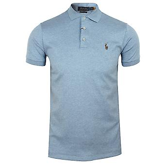 Ralph lauren men's blue heather pima polo shirt