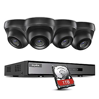 【Truely 1080p】sannce 4ch cctv system dvr recorder 1tb hdd, 4x1080p outdoor wide angel weatherpro