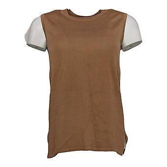 Isaac Mizrahi En direct! Women's Sweater Crew-Neck Tank Brown A393431