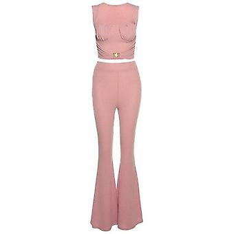 Femmes Buckle Tank+flare Pants Solid Corset Loose High Waist Stretchy
