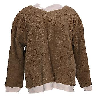 Cuddl Duds Women's Pajama Top Sherpa Pullover Long Sleeve Brown A381802