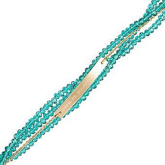 ' LIFE IS BEAUTIFUL ' Goldenes Armband Kette und Perlen mit Botschaft