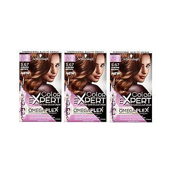 Schwarzkopf Color Expert 5.67 Auburn Brown Omegaplex Permanent Hair Dye x3
