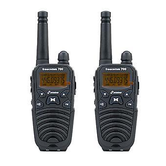Portable PMR radio station Stabo Freecomm 700 Box 8CH VOX FM Radio 0.5W IPX2 600mAh set with 2bc