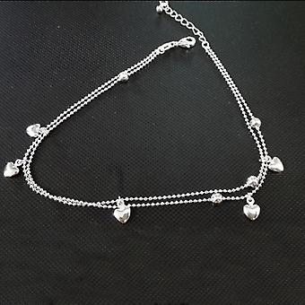 Two Layers Heart Ball 925 Sterling Silver Anklet