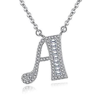 Gemshadow initial Sterling 925 silver necklace with zircons personalized letter gifts for women girls, cod. AQEN000048