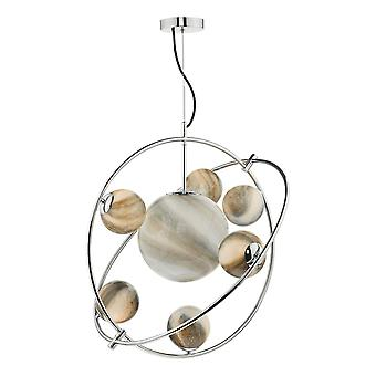 DAR MIKARA Kugelanhänger Licht poliert Chromglas, 7x G9