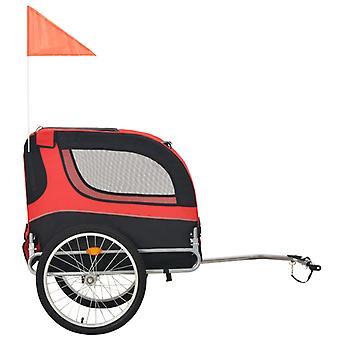 vidaXL-koirapyörän perävaunu punainen ja musta