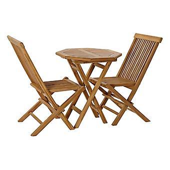 Zestaw stołowy z 2 krzesłami DKD Home Decor Garden Teak (3 szt.)