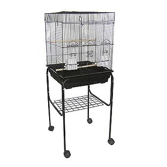 """Yml 5824 3/8"""" Bar Spacing Square Top Bird Cage With Stand, 18"""" X 14""""/Small, Black"""