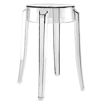 Fusion Living Crystal Clear Ghost Style Low Stool  - Set Of 4