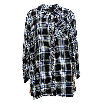 Tolani Collection Women's Plus Top Plaid Tunic w/Print Back Blue A383438