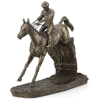Horse Racing Clearing The Last by David Geenty Cold Cast Bronze Sculpture 19cm