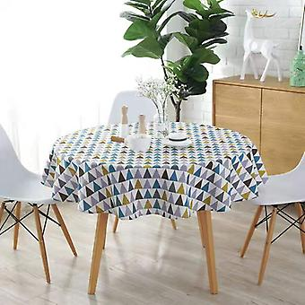 59-inch Diameter Polyester-cotton Round Tablecloth, Available In Three Styles