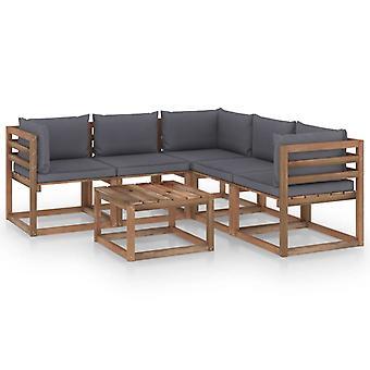 vidaXL 6 pcs. Garden Lounge Set Pillow Anthracite Pine Impregnated