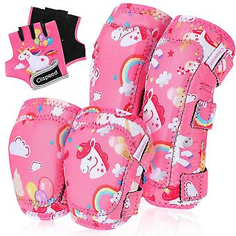 Clispeed Protective Gear Set Kids Sports Protective Gears Knee Elbow Guard Pads Gloves For Cycling Skateboarding Size S/m (rose)