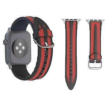 Double Stripes Silicone watch band for Apple Watch Series 3 & 2 & 1 42mm Black + Red