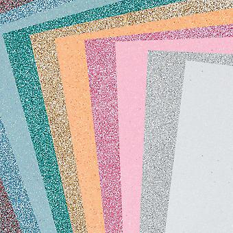 10 Assorted Sheets of A4 Pastel Glitter Craft Foam - 2mm Thick