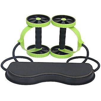 (Green) Abdominal Muscle Wheel Double AB Roller Wheel Exercise Gym Fitness Equipment