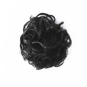 2 Pcs Mujeres Pelo Desordenado Moño Elástica Pelo Cuerda Pelo Sintético Moño Onda Rizada Donut Hair Band Peluca
