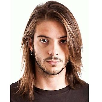 Men Synthetic Long Full Wigs Male Brown Straight Hair Wig
