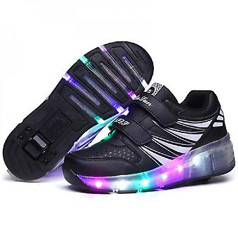 Led Light Up Roller Shoes Double Wheel Usb Rechargeable Skating Shoes Black/pink