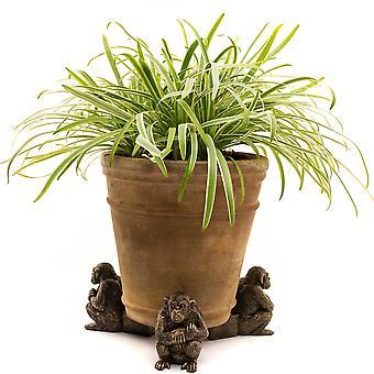 Potty Feet Decorative Chimpanzee Themed Plant Pot Feet - Bronze Color 3pc