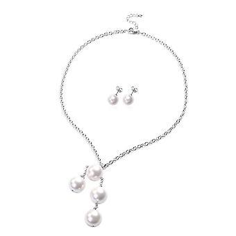 Sæt med 2 White Shell Pearl Drop halskæde størrelse 20 og Stud øreringe i stål