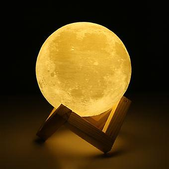 3d Moon Lamp Touch Night Light Home Decor Office Creative Gift 2 Color Rechargeable Switch 9cm