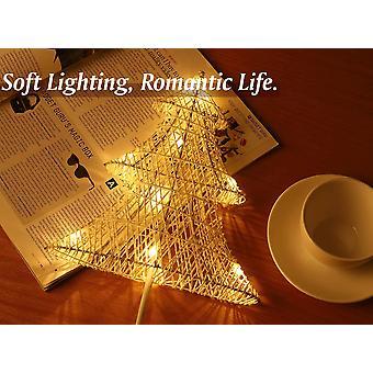 Dekorativní stolní lampa, bateriová led noční lampa ve tvaru vánočního stromku, noční osvětlení teplé světlo, - bílá