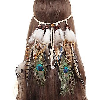Feather Headband Tassel Hemp Rope Bohemian Hairband For Women
