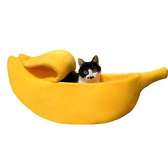 Slaapzak voor katten en honden om warm te blijven in de winter en diepe slaap (geel)