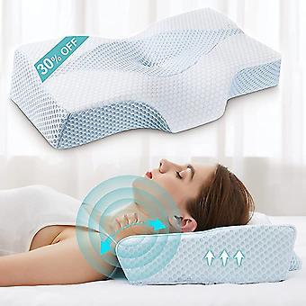 Oreillers cervicaux pour le soulagement de la douleur au cou, oreiller en mousse à mémoire de forme pour dormir, oreiller de soutien orthopédique du cou pour le côté, le dos, le dormeur d'estomac avec respirant