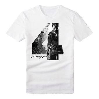 Uncharted 4 Adult Male Silhouette '4' A Thief's End T-Shirt Extra Large White (TS282009UNC-XL)