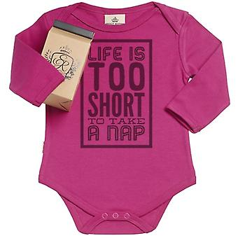 Spoilt Rotten Life Too Short For A Nap Organic Babygrow In Gift Milk Carton