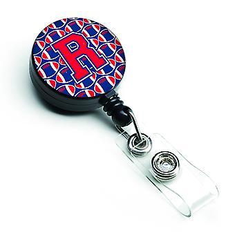 Letter R Football Harvard Crimson and Yale Blue Retractable Badge Reel