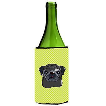 Tabuleiro de damas Cal Pug preto verde garrafa de vinho bebida isolador Hugger