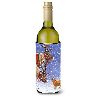 Reindeers & Cat Wine Bottle Beverage Insulator Hugger