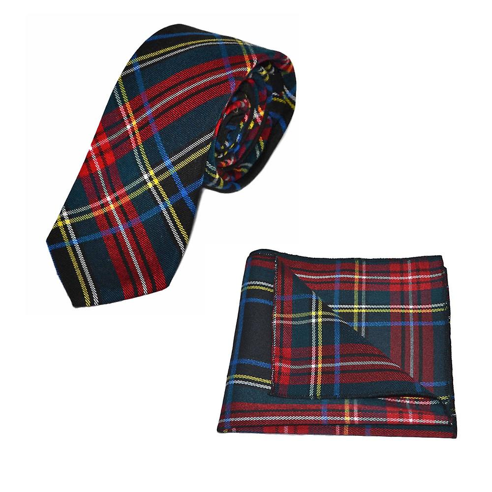 Traditional Dark Green & Black Tartan Tie & Pocket Square Set, Check, Plaid