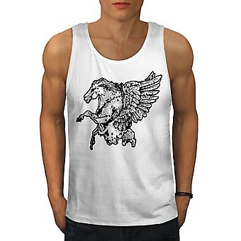 Fantasy Pegasus Horse Men WhiteTank Top   Wellcoda